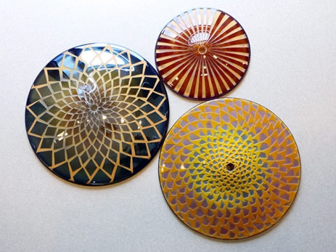 These colorful glass mandalas will represent the centers of the sunflowers.